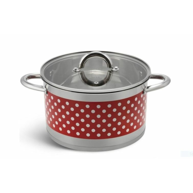 Bachmayer  6 részes piros pöttyös nemes acél edénykészlet BH 4002