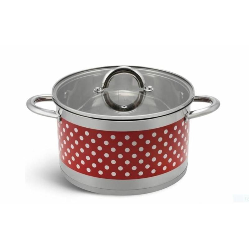 Bachmayer  6 részes piros pöttyös nemes acél edénykészlet BH 4001