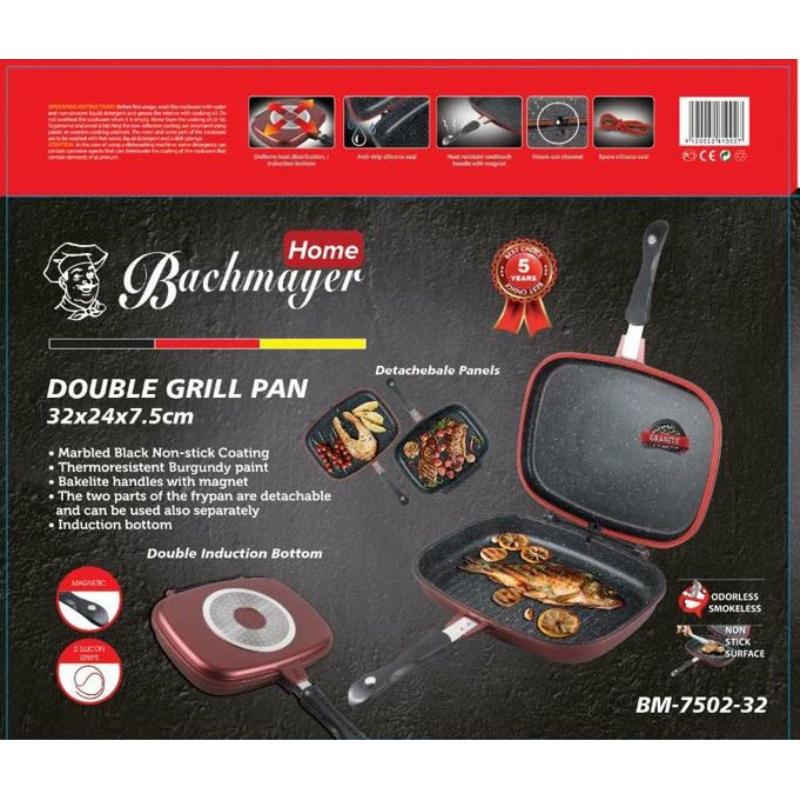 Bachmayer  dupla grill márvány serpenyő, BM 7502 dubletta burgundy