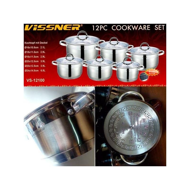 12 db-os nemes acél edénykészlet Vissner VS12100